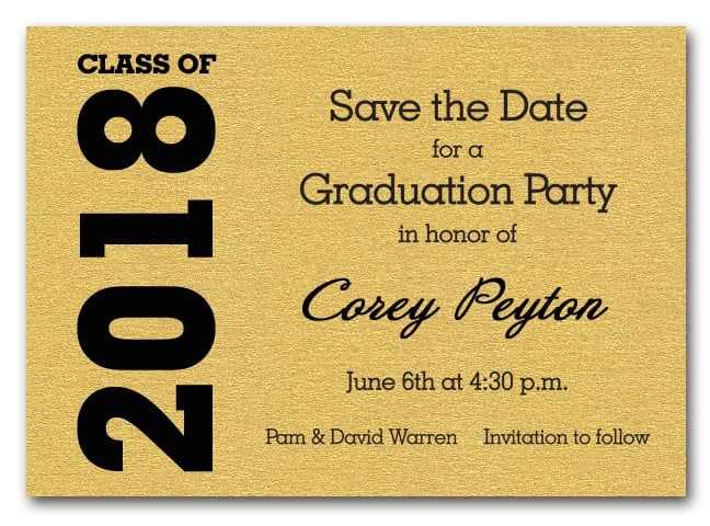 Best 25 naming ceremony invitation ideas on pinterest naming shimmery gold graduation save the date cards stopboris Image collections