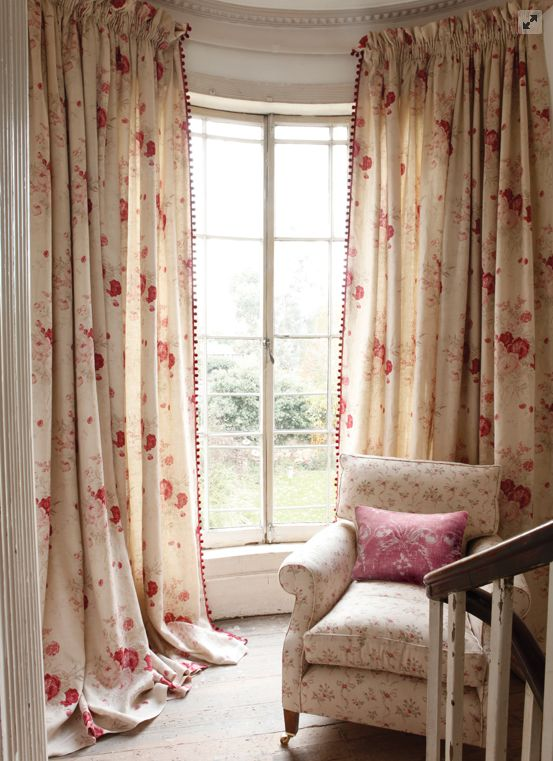 Kate Forman 'Roses' curtains with ruffle top tape heading