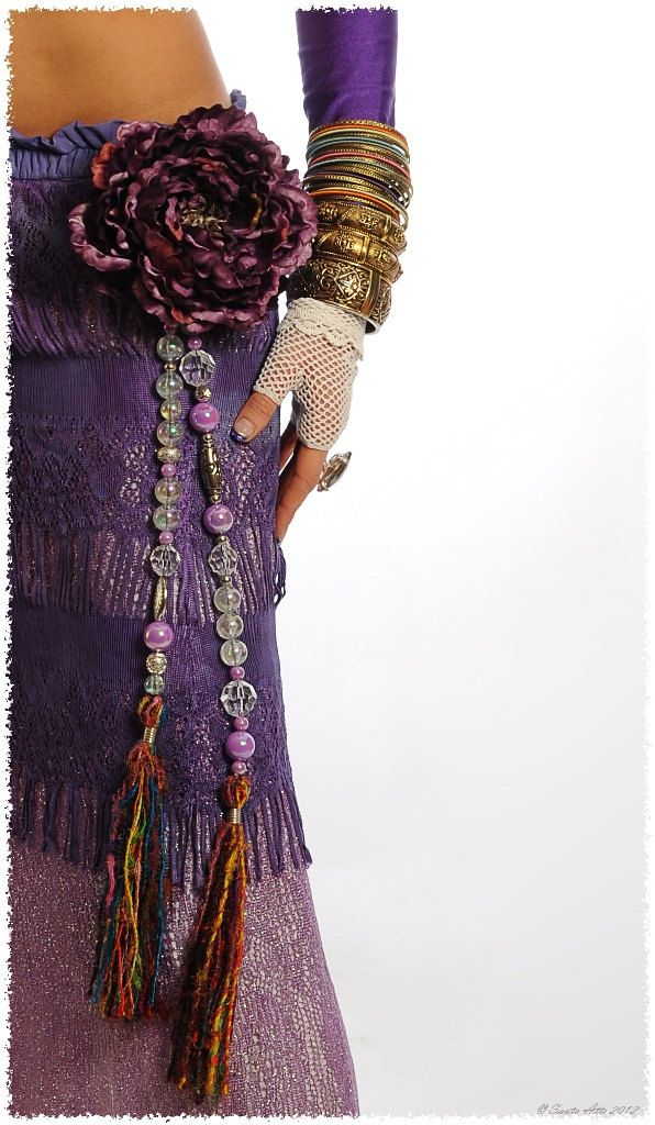 Tribal Jewelry Silk Tassels Tribal Belly Dance Hip Accent Purple Iridescent Tribal Fusion Gypsy Boho Burlesque. $35.00, via Etsy.