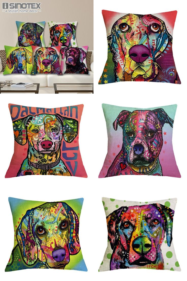 [Visit to Buy] Cushion Cover Linen Oil Printed Rottweiler Boxer Labrador Dog Pillow Cases Pillowcase Bedroom Home Decoration Decorative Pillows #Advertisement