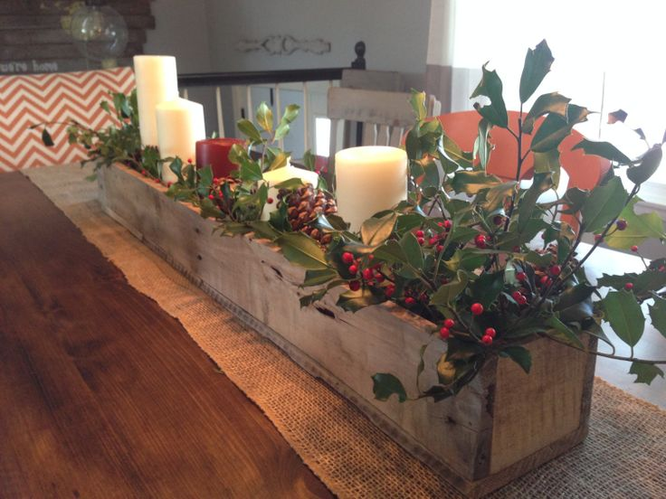 Rustic wooden planter centerpiece box home decor