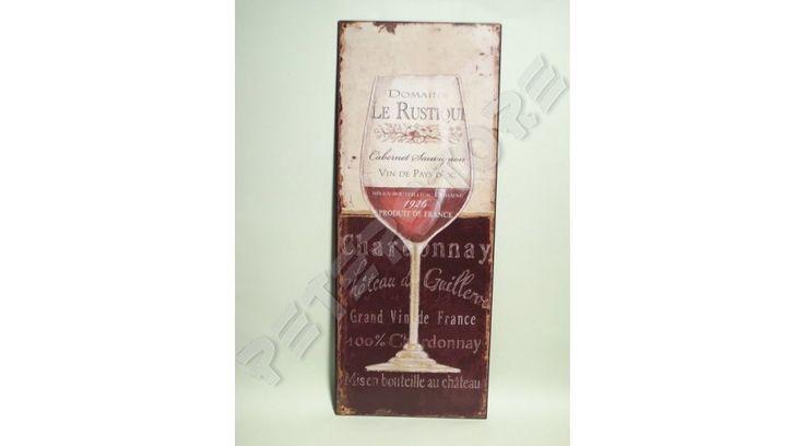 Retró Fém Tábla - Chardonnay 1926 Francia Bor - 20x50 cm - PeterStore Webáruház - Exkluzív Ajándékok És Szobrok, Egyedi Különleges Dísztárgyak, Kerti Díszek