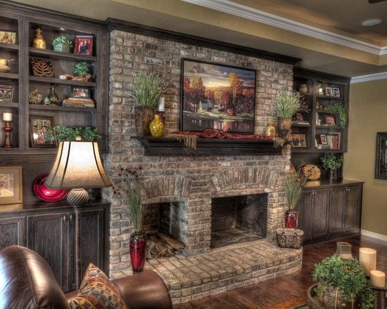Traditional Living Room With Old Mill Brick Rushmore Colonial Collection Thin Corners Stone Fireplace Hardwood Floors