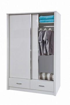 Шкаф для хранения одежды с 2-мя раздвижными дверьми, 2-мя выдвижными ящиками, с внутренними полками и штангой для вешалок