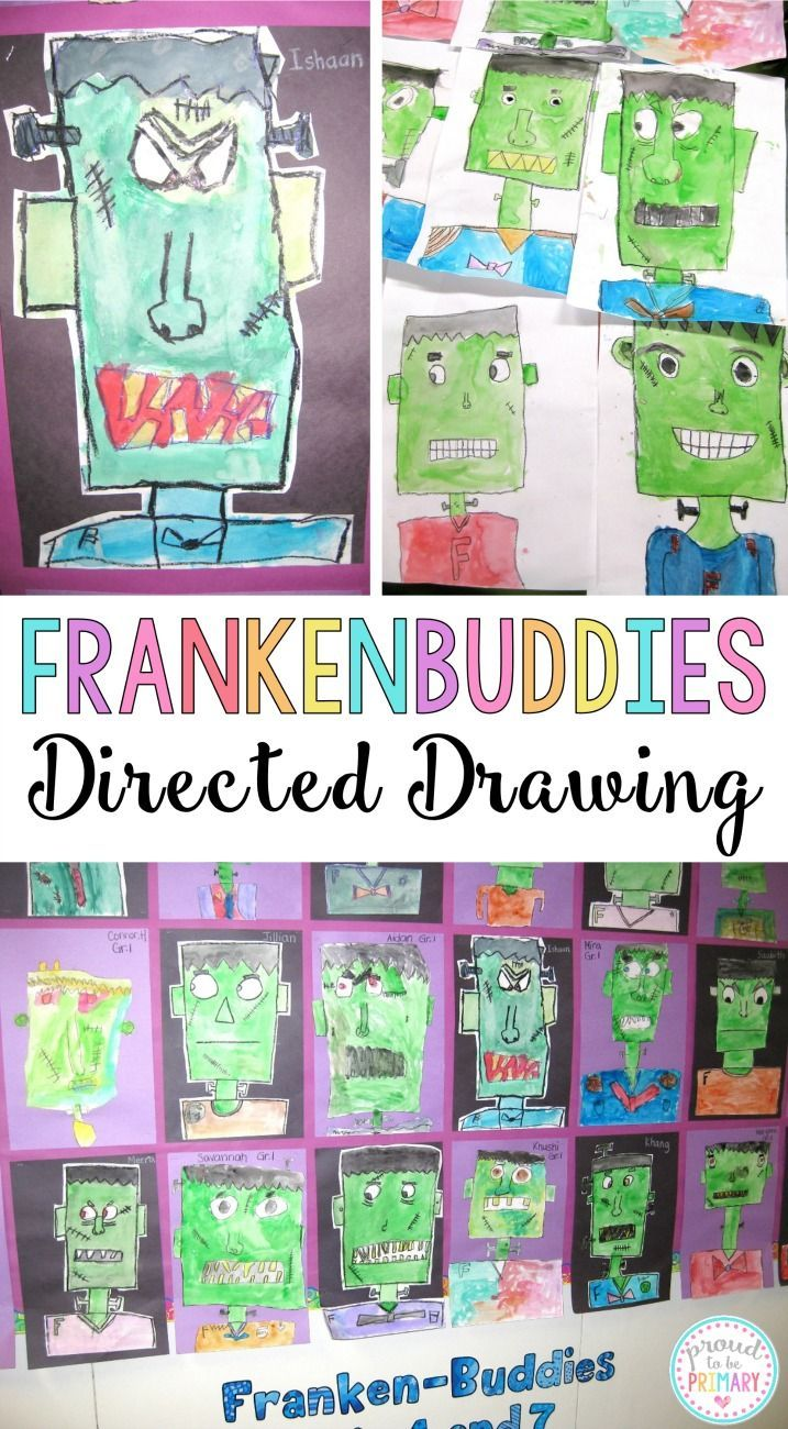 Complete this Frankenstein Frankenbuddies directed drawing lesson with your class at school and create the perfect bulletin board display for Halloween. This makes a great Halloween activity for kids! YOU will love the BOO-TIFUL results!
