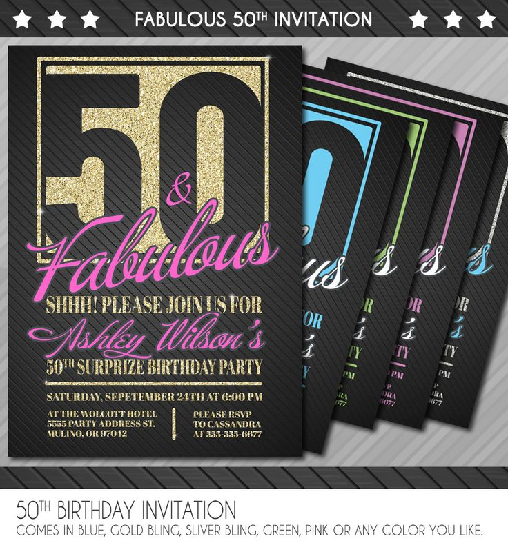 50th Birthday Invitation - Surprise 50th Birthday Invitation - 50th Birthday invite - 30th 40th 50th 60th 70th 80th 90th - Personalized by WolcottDesigns on Etsy
