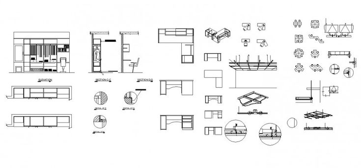 Wardrobe Study Table Ceiling And Office Cubicle Working Drawing In Dwg File Study Table Joinery Details Office Cubicle