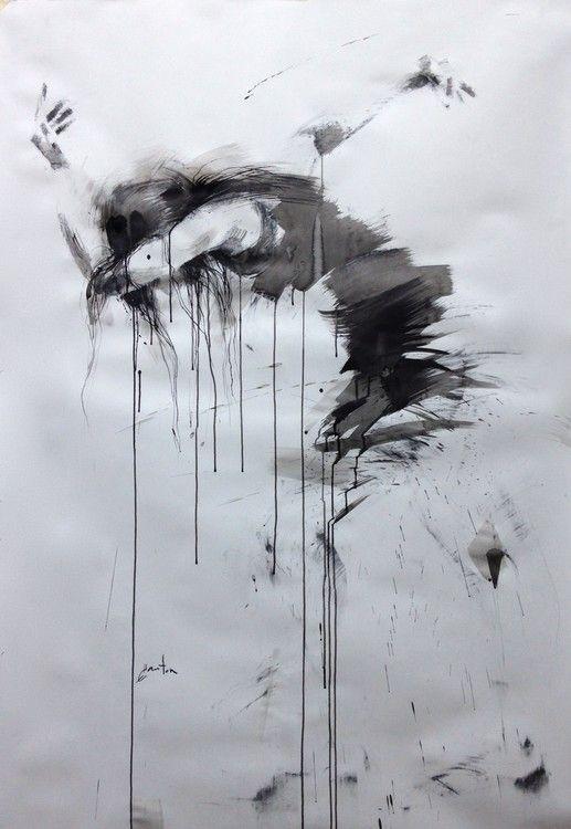 danse, le chemin (Peinture),  101x150 cm par ewah encre de chine et fusain sur papier
