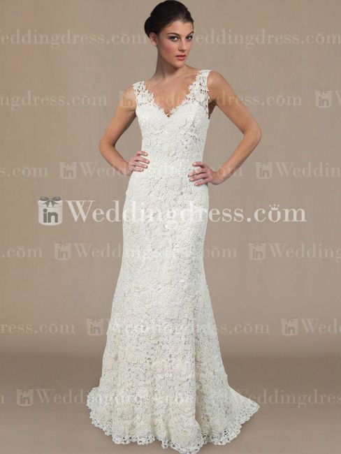 Elegant V-neck Lace Wedding Dress DE214 New. too much lace?