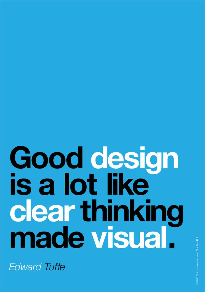 """""""Good design is a lot like clear thinking made visual."""" - Edward Tufte"""