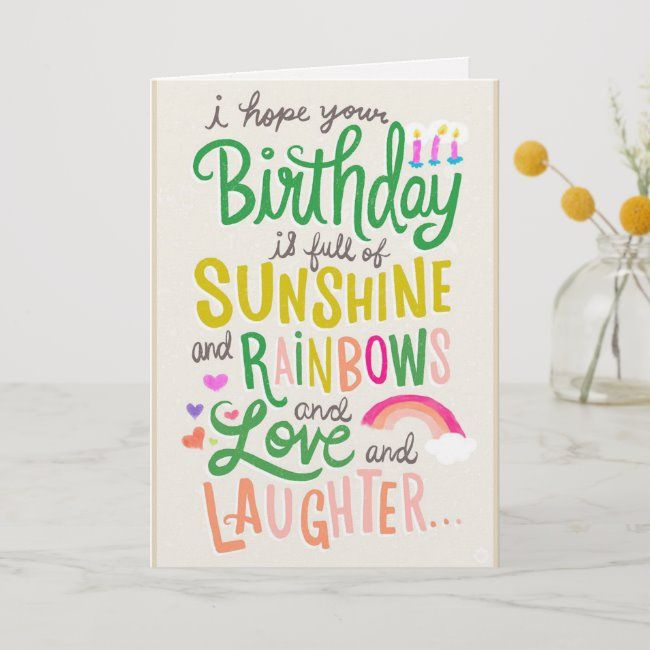 Rainbows Sunshine Card Zazzle Com Happy Birthday Rainbow Electronic Birthday Cards Happy Birthday Cards
