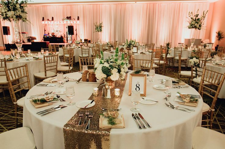 Simple yet elegant table decor for a wedding reception in one of our indoor ballrooms.