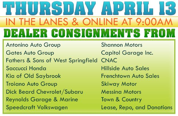 Join us this Thursday, April 13 in the lanes or online with Antonino Auto Group, Gates Auto Group, Fathers & Sons of West Springfield, Saccucci Honda, Kia of Old Saybrook, Troiano Auto Group, Dick Beard Chevrolet/Subaru, Reynolds Garage & Marine, Speedcraft Volkswagen, Shannon Motors, Capitol Garage Inc., CNAC, Hillside Auto Sales, Frenchtown Auto Sales, Skiway Motor, Messina Motors, Lease, Repo, and Donations