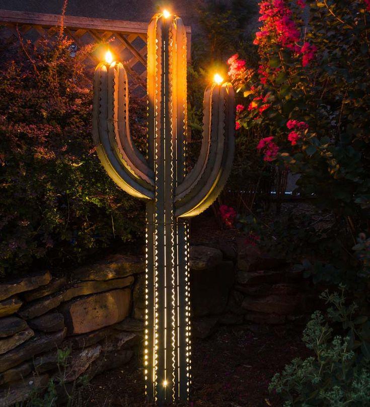 outdoor torch lighting. green metal saguaro cactus outdoor torch 6 foot lighting
