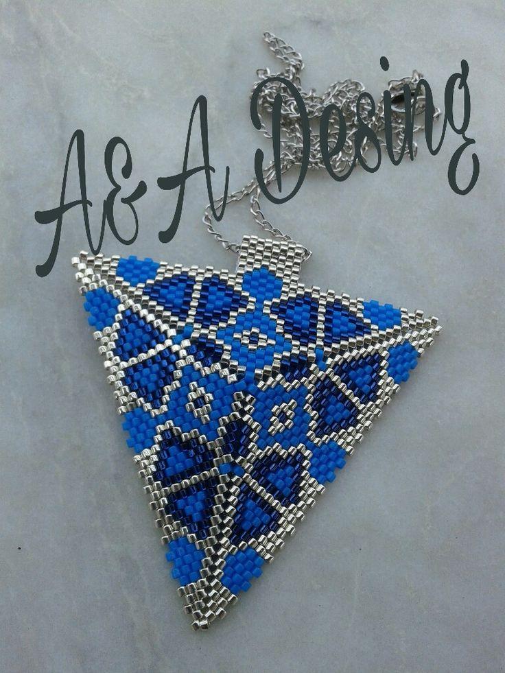 Miyuki beads silver,blue,navyblue handmade triangle necklace desing