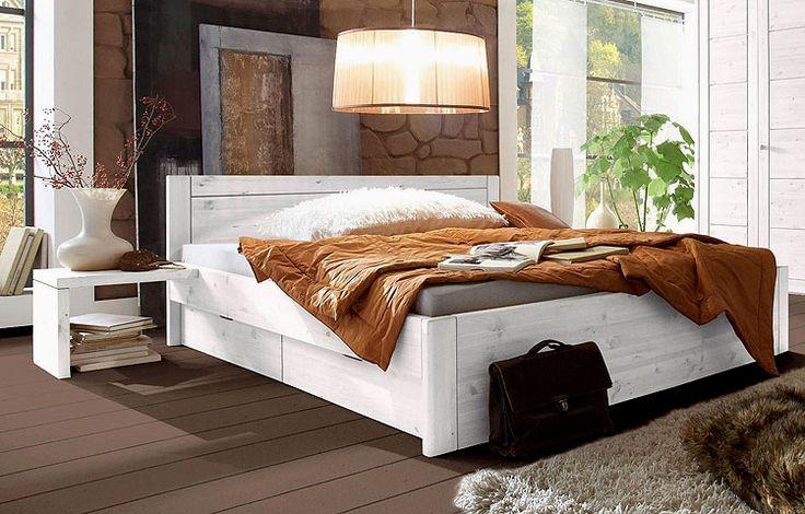 Funktionsbett Bett mit Schubladen 140 x 200cm - Kiefer Möbel massiv - weiß gewischt