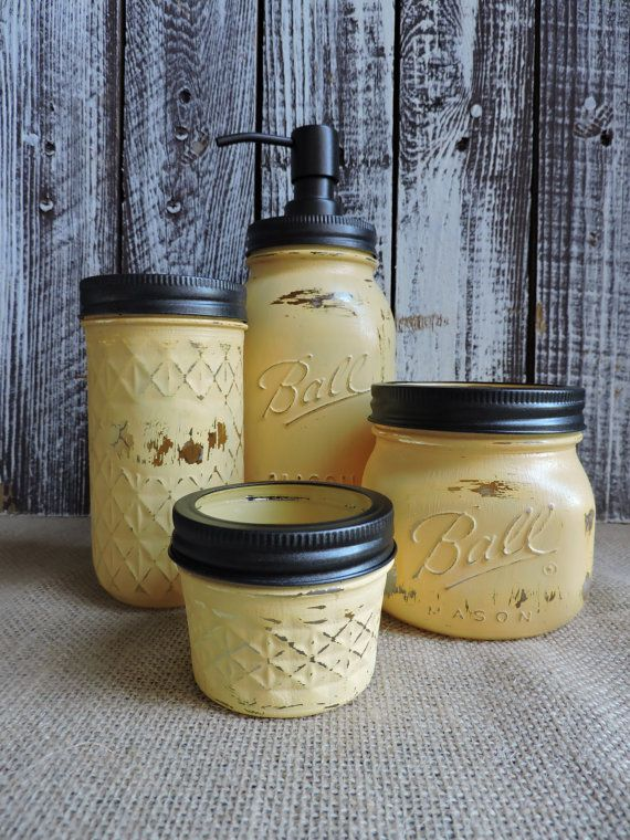 Check out this item in my Etsy shop https://www.etsy.com/listing/286518891/mason-jar-4-piece-bathroom-set-sunflower