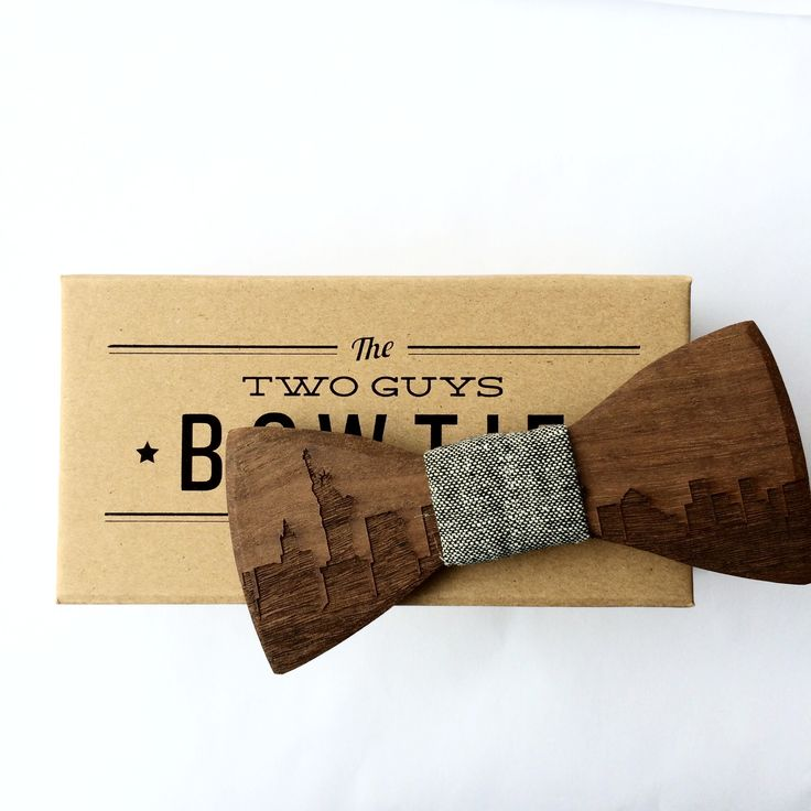 New York Skyline Wooden Bow Tie