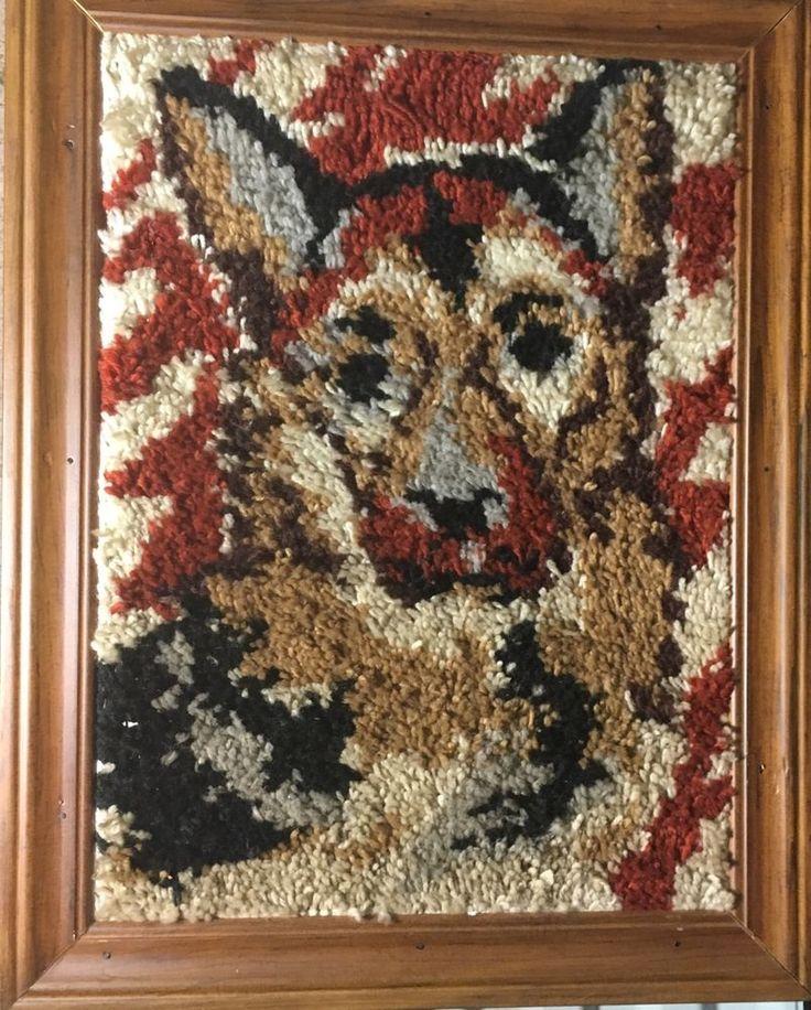 Vintage Framed German Shepherd Latch Hooked Rug Tapestry | eBay
