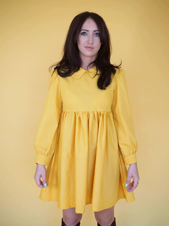 13a1839c531 Yellow Peter Pan Collar Baby Doll Dress in 2019