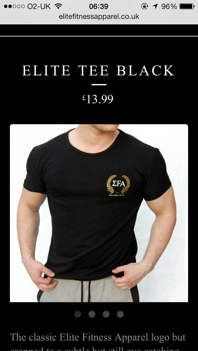 Elite Tee Black - £13.99  A cotton and Lycra mix making this tee ideal for training. Breathable and aesthetic looking to top.