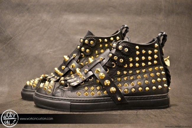 Work_On leather shoes - #leather #shoes #custom #studs #sneakers #workon #fashion #handmade #madeinitaly - www.workoncustom.com - mod. Milionaire