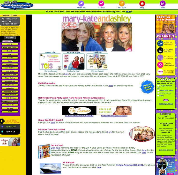 But the most nostalgia-inducing site of all has to be MaryKateandAshley.com, which was a full-on experience. I would enter the Win a Hollywood Pizza Party ...