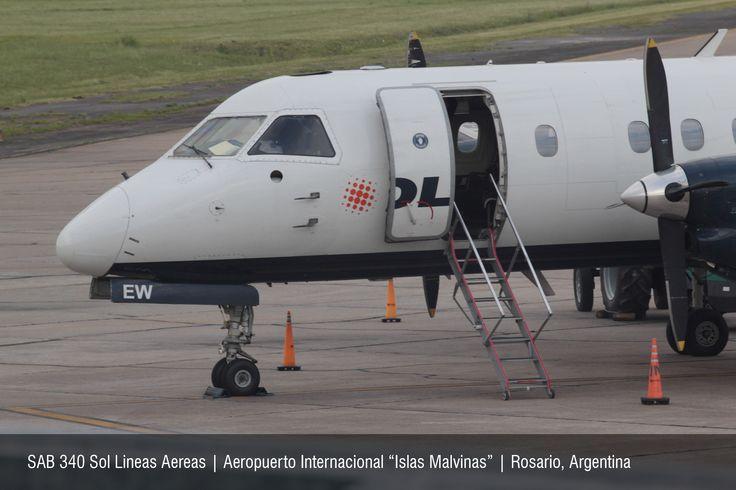 """SAAB 340 de Sol Lineas Aereas   Aeropuerto Internacional """"Islas Malvinas""""   Rosario, Argentina"""
