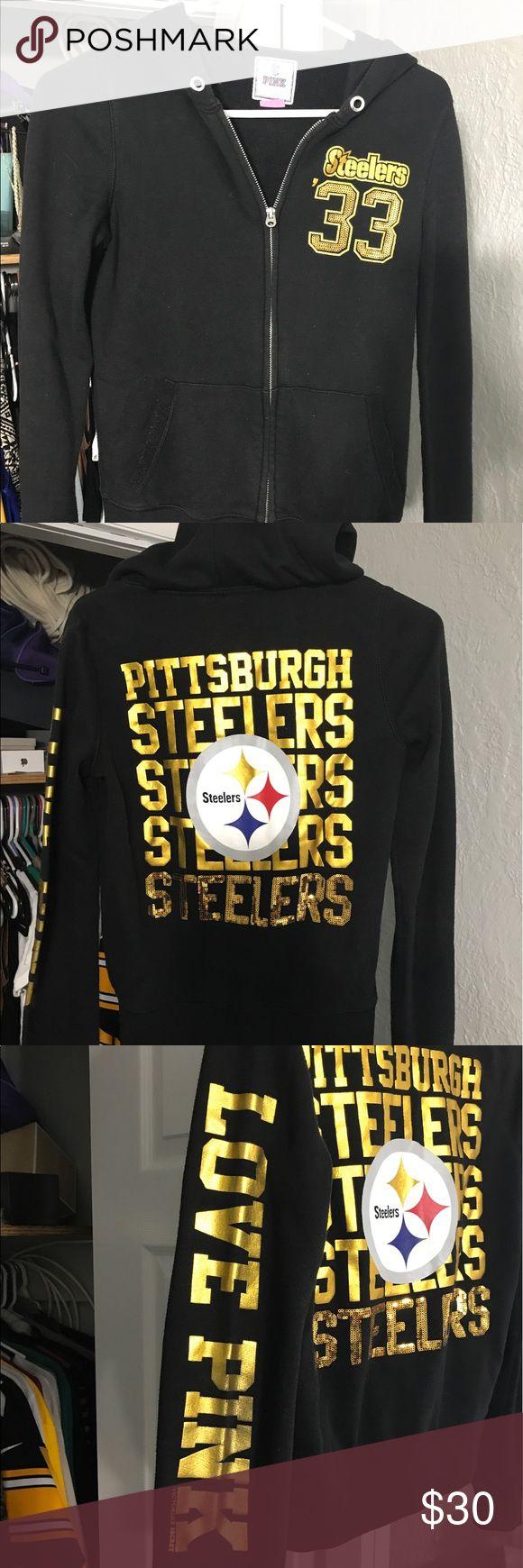 PINK Victoria's Secret Steelers Zip Up Hoodie Size small PINK Victoria's Secret Steelers hoodie. Black and gold, zip up, with sequin detailing. PINK Victoria's Secret Tops Sweatshirts & Hoodies