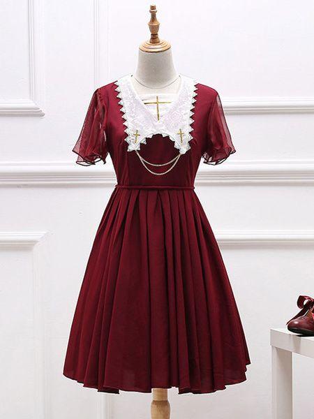 25a4998ce14 Gothic Lolita Dress OP Pleated Embroidery Two Tone Chiffon Lolita One Piece  Dress