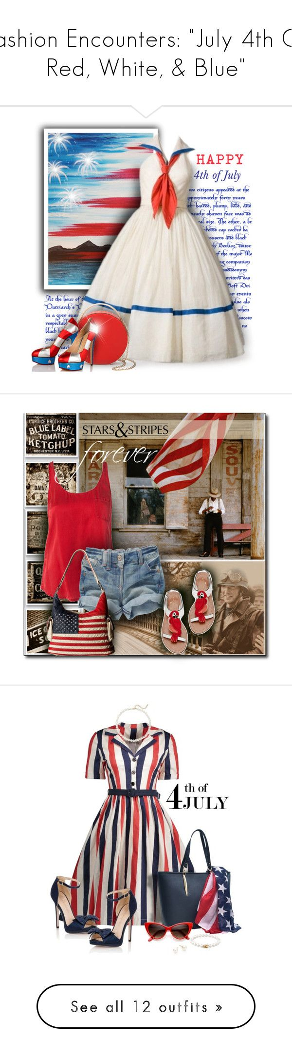 """Fashion Encounters: ""July 4th Or Red, White, & Blue"""" by majezy ❤ liked on Polyvore featuring Charlotte Olympia, Eddie Borgo, BOSS Orange, Kate Spade, M&F Western, Dasein, Saks Fifth Avenue, Little Mistress, Tiffany & Co. and Majorica"