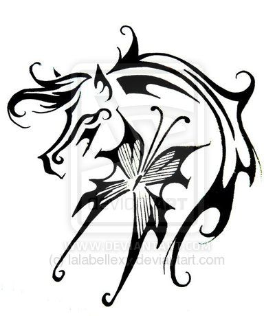 Horse & Butterfly tattoo