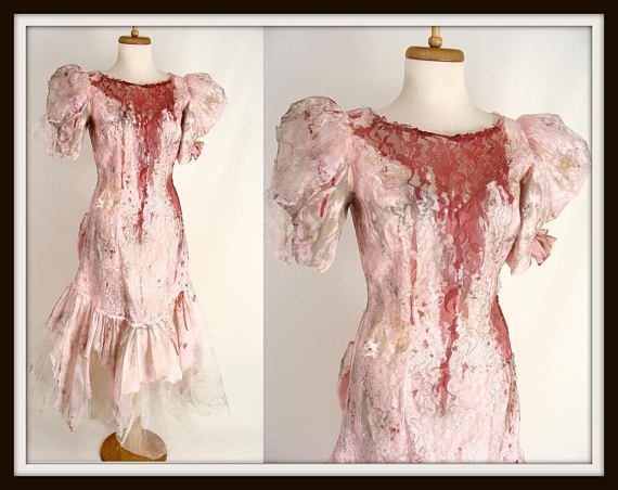 $115.00 Zombie Prom Queen Costume. Bloody Dress. Vintage 80s. Pink Puff Sleeve Ruffled Party Dress. Scary Costume. Halloween Costume Size S M 6 7 8
