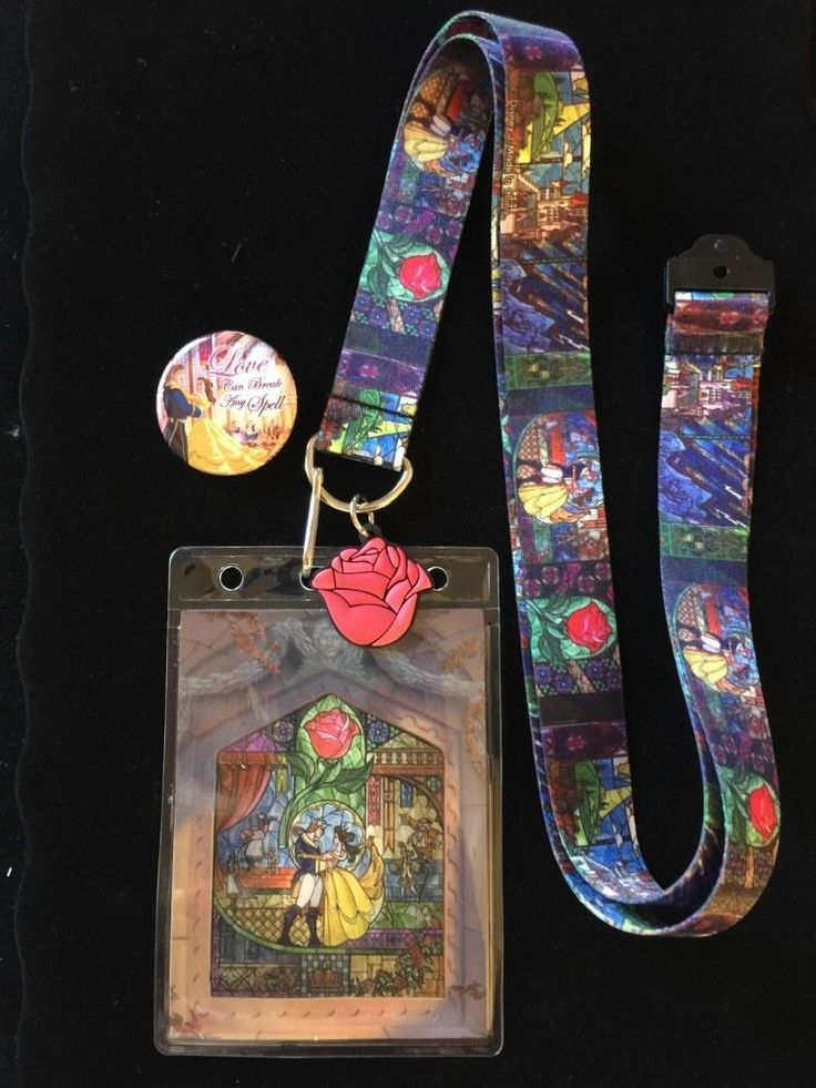Disney Beauty And The Beast Lanyard With Belle & Prince Adam Dancing Button Pin