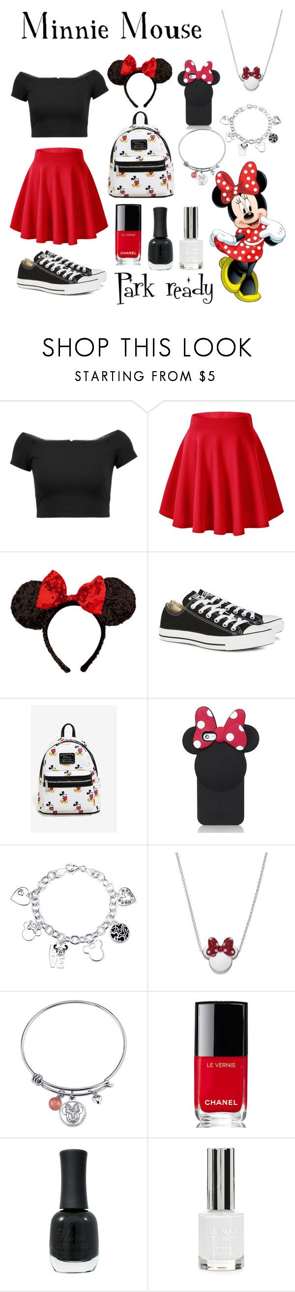 """Minnie Mouse"" by brianapaige14 ❤ liked on Polyvore featuring Alice + Olivia, Disney, Converse, Kate Spade, Chanel, Charlotte Russe, Topshop, disney, skaterskirt and parkready"