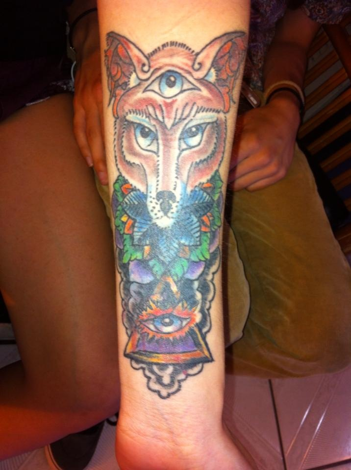 Third Eye Tattoo: Celestial Fox Third Eye Pyramid Into The Mind Custom