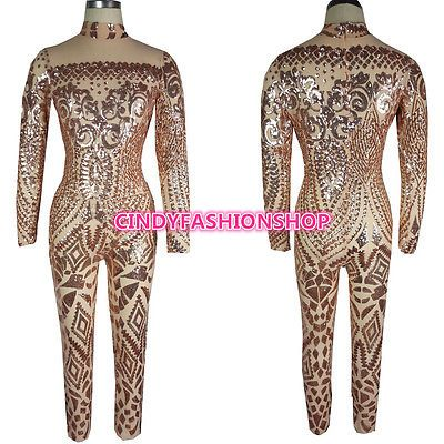 Particulars about USA Girls Attractive Geometric Tattoo Sequin Lengthy Sleeve Bodysuit Cat go well with Jumpsuit