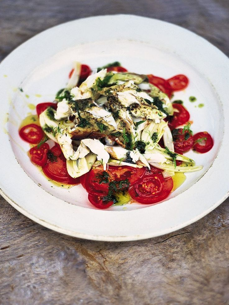 "Fantastic tomato and fennel salad with flaked barbecued fish ""A lovely, fresh fennel salad is such a great summer combo with the delicate, hot fish """