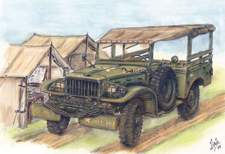 """A 1942 Dodge 3/4 ton WC 52 """"Weapons Carrier in the field. Medium: watercolor pencil on 9"""" x 11"""" paper."""