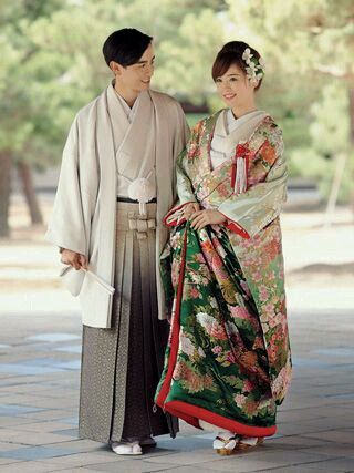 Japanese wedding in traditional clothes