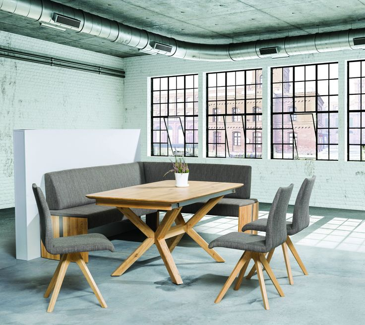 X Base Dining Room Table with comfy bench and chairs. #moderndiningroom #KloseFurniture
