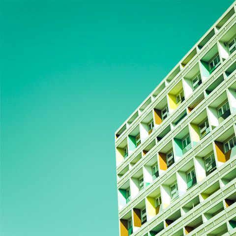 Berlin. Le Corbusier House, colorful Berlin architecture photographed by Matthias Heiderich.