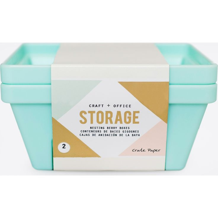 American Crafts Desktop Storage Nesting Berry Containers 2/Pkg-Light Teal - Light Teal