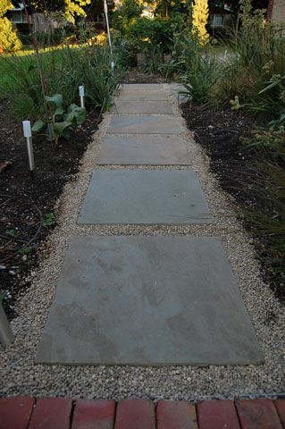 pea gravel and concrete stepping stones