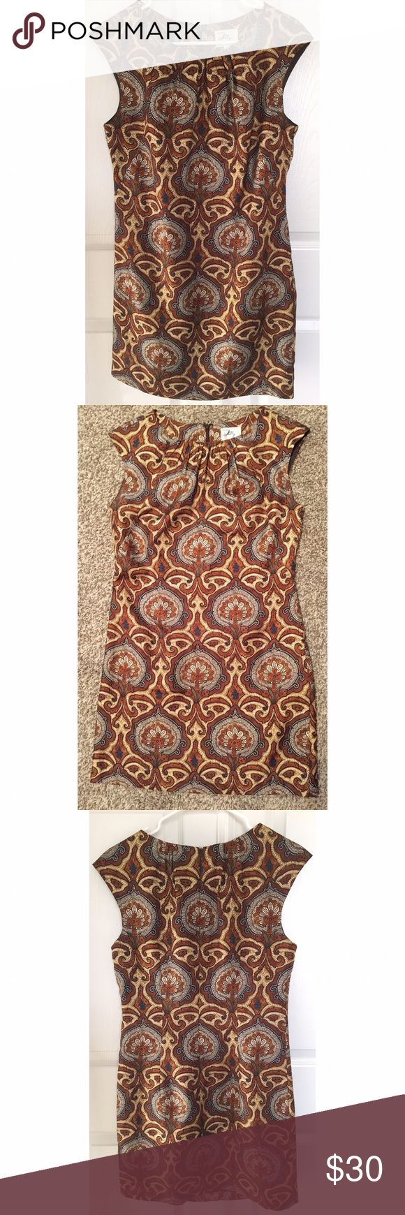 Milly Multi Pattern Brown Short Dress Sz 6 Beautiful multi color Milly dress in size 6. Paisley like fabric print style. 100% silk. Dress is fully lined. Invisible back zipper. Dress is 34 inches long. Milly Dresses
