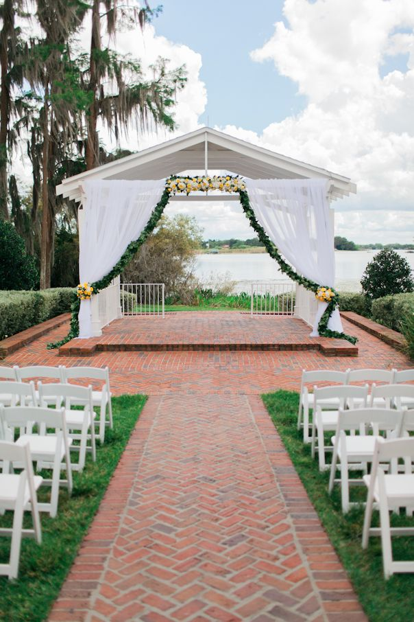 Cypress Grove Estate House Lakeside Ceremony with Greenery Garland