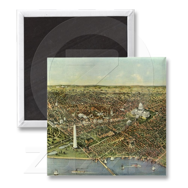 Washington Dc Map National Mall%0A Vintage Aerial Antique City Map of Washington DC Fridge Magnets from  Zazzle com