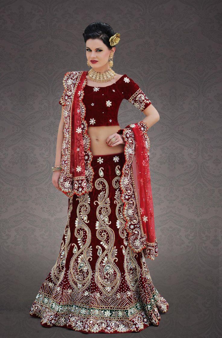 $655.34 Maroon Velvet Indian Bridal  Lehenga Choli 23249