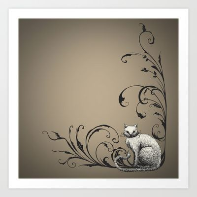 Cat in the offing Art Print Promoters - $14.56 #artwork #digitalprint #illustration #desing