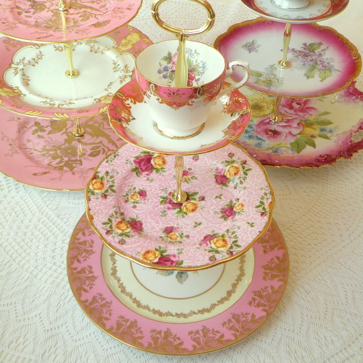 Alice Buys Candy Vintage China Hot Pink 3 Tier Cake Plate or Cupcake Stand for High Tea Tray Holiday Centerpiece Bridal Shower or Wedding & 214 best Cake Stands images on Pinterest | Tiered cake stands Tea ...